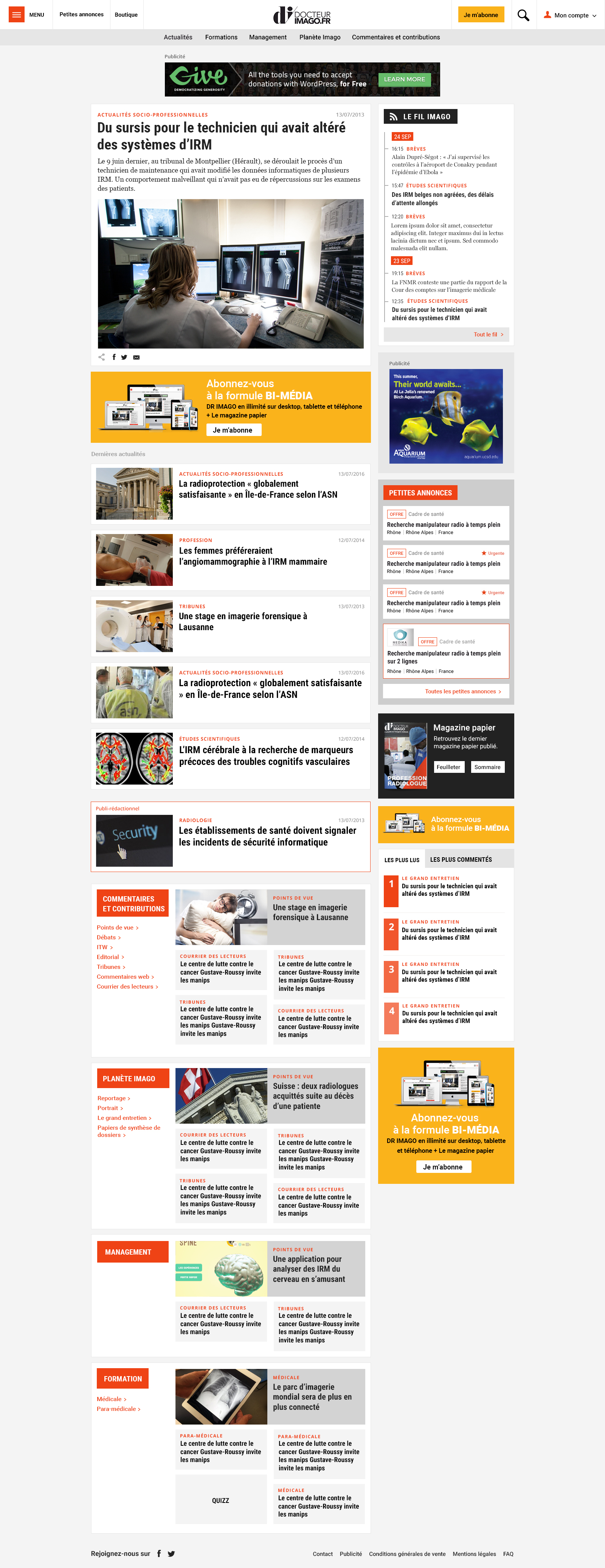 Page d'accueil du site internet Dr Imago - Studio EVOL