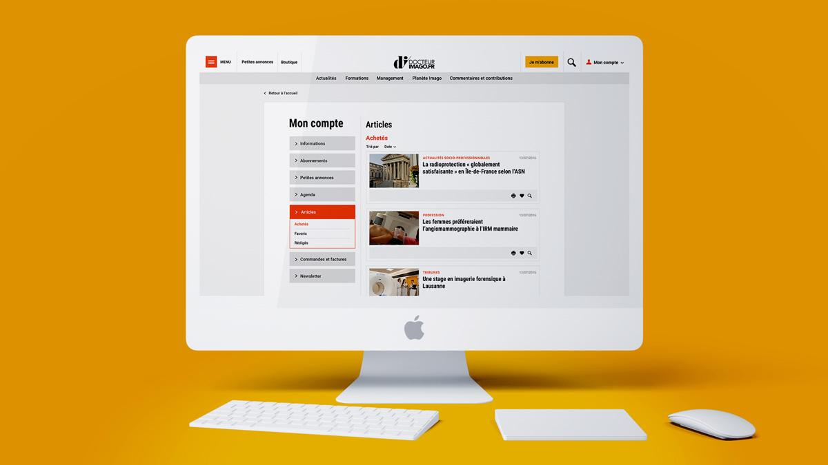 Commpte utilisateur site internet Dr Imago -studio-evol