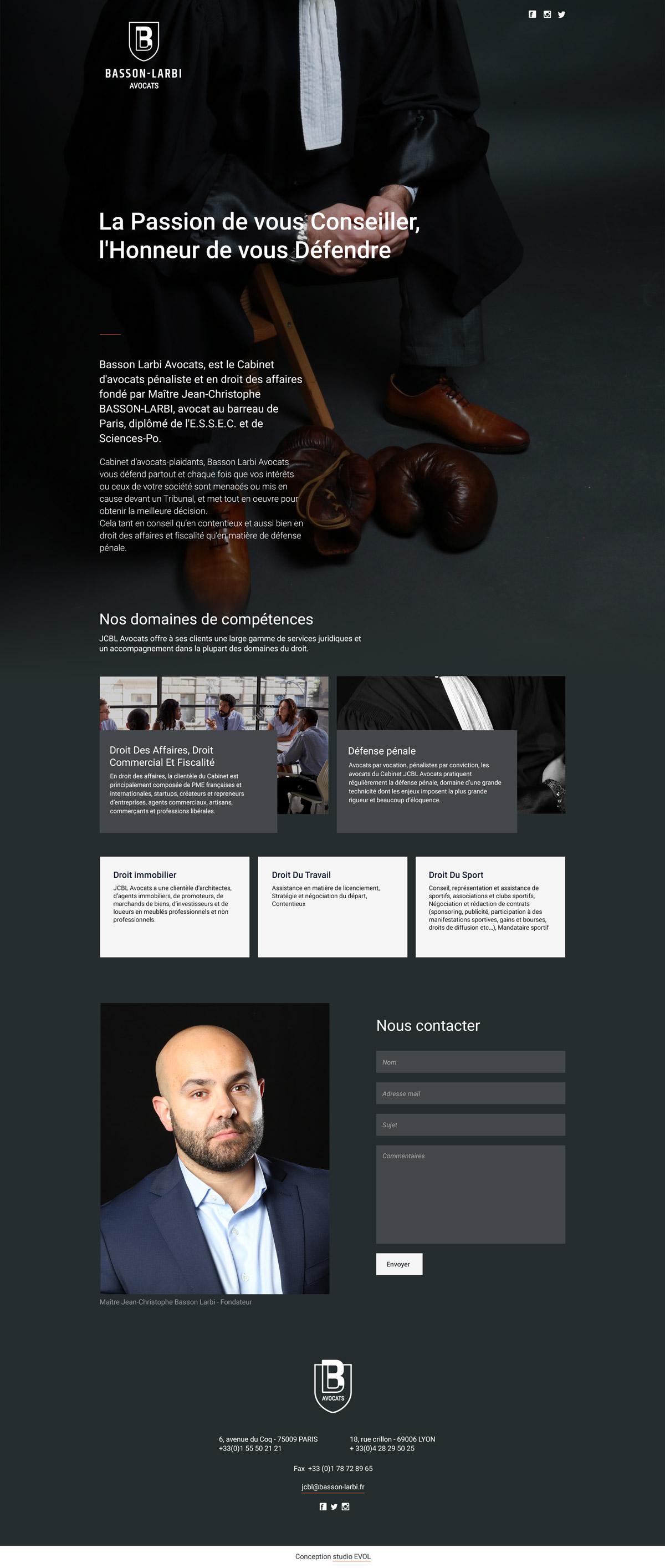Page d'accueil du site web du cabinet d'avocats Basson-Larbi Avocats - Studio-EVOL
